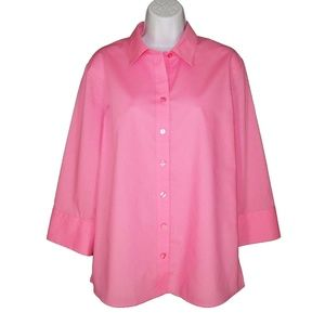 NEW Foxcroft Wrinkle Resistant Pink Shirt 14
